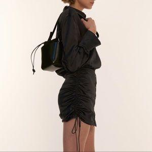 Draped satin effect little black dress w/ ruching